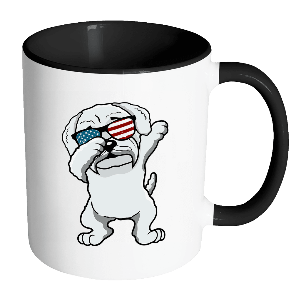 RobustCreative-Dabbing Maltipoo Dog America Flag - Patriotic Merica Murica Pride - 4th of July USA Independence Day - 11oz Black & White Funny Coffee Mug Women Men Friends Gift ~ Both Sides Printed