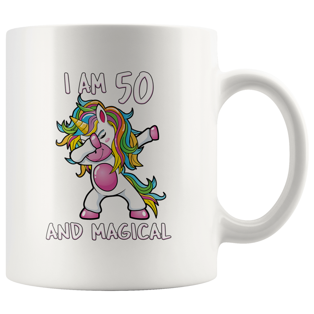 RobustCreative-I am 50 & Magical Unicorn birthday fifty Years Old White 11oz Mug Gift Idea
