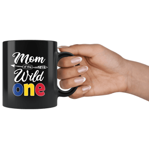 RobustCreative-Romanian Mom of the Wild One Birthday Romania Flag Black 11oz Mug Gift Idea