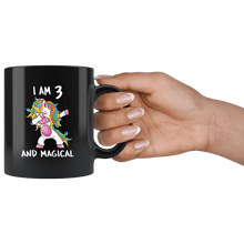 Load image into Gallery viewer, RobustCreative-I am 3 & Magical Unicorn birthday three Years Old Black 11oz Mug Gift Idea