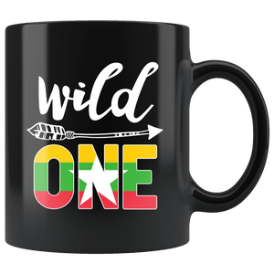 RobustCreative-Myanmar Wild One Birthday Outfit 1 Burmese Flag Black 11oz Mug Gift Idea