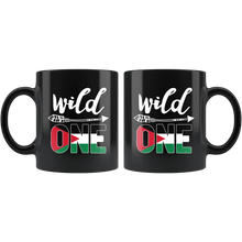 Load image into Gallery viewer, RobustCreative-Jordan Wild One Birthday Outfit 1 Jordanian Flag Black 11oz Mug Gift Idea