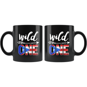 RobustCreative-Puerto Rico Wild One Birthday Outfit 1 Puerto Rican Boricua Flag Black 11oz Mug Gift Idea