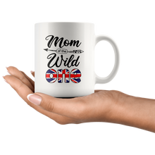 Load image into Gallery viewer, RobustCreative-British Mom of the Wild One Birthday Great Britain Flag White 11oz Mug Gift Idea