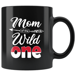 RobustCreative-Indonesian Mom of the Wild One Birthday Indonesia Flag Black 11oz Mug Gift Idea
