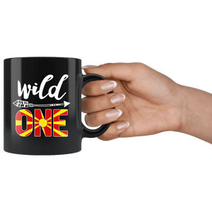 RobustCreative-Macedonia Wild One Birthday Outfit 1 Macedonian Flag Black 11oz Mug Gift Idea