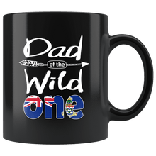 Load image into Gallery viewer, RobustCreative-Caymanian Dad of the Wild One Birthday Cayman Islands Flag Black 11oz Mug Gift Idea