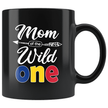 Load image into Gallery viewer, RobustCreative-Romanian Mom of the Wild One Birthday Romania Flag Black 11oz Mug Gift Idea