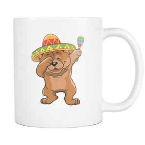 RobustCreative-Dabbing Chow Chow Dog in Sombrero - Cinco De Mayo Mexican Fiesta - Dab Dance Mexico Party - 11oz White Funny Coffee Mug Women Men Friends Gift ~ Both Sides Printed