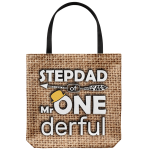 RobustCreative Stepdad Of Mr Onederful 1st Birthday Baby Boy Outfit Tote Bag Gift Idea