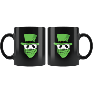 RobustCreative-Panda Leprechaun St Patricks Day Green Bandana Kids - 11oz Black Mug lucky paddys pattys day Gift Idea