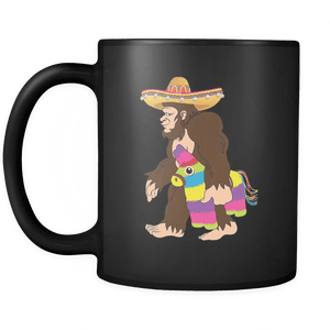 RobustCreative-Bigfoot Sasquatch Piniata - Cinco De Mayo Mexican Fiesta - No Siesta Mexico Party - 11oz Black Funny Coffee Mug Women Men Friends Gift ~ Both Sides Printed
