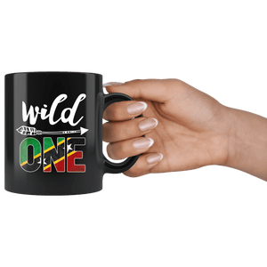RobustCreative-Saint Kitts Nevis Wild One Birthday Outfit Kittitian or Nevisian Flag Black 11oz Mug Gift Idea