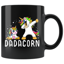 Load image into Gallery viewer, RobustCreative-Dadacorn Unicorn Dad And Baby Mens Fathers Day Birthday Black 11oz Mug Gift Idea