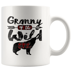 RobustCreative-Strong Granny of the Wild One Wolf 1st Birthday Wolves - 11oz White Mug plaid pajamas Gift Idea