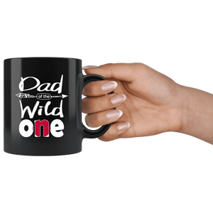 RobustCreative-Japanese Dad of the Wild One Birthday Japan Flag Black 11oz Mug Gift Idea
