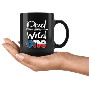 RobustCreative-Czech Dad of the Wild One Birthday Czech Republic Flag Black 11oz Mug Gift Idea