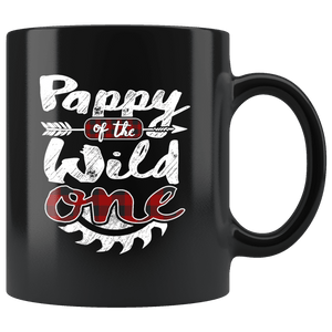 RobustCreative-Pappy of the Wild One Lumberjack Woodworker Sawdust Glitter - 11oz Black Mug Sawdust Glitter is mans glitter Gift Idea