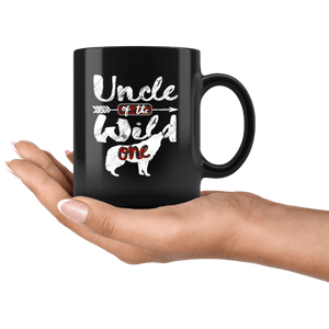 RobustCreative-Uncle of the Wild One Wolf 1st Birthday Wolves - 11oz Black Mug red black plaid pajamas Gift Idea