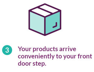 Your products arrive conveniently to your front door step.