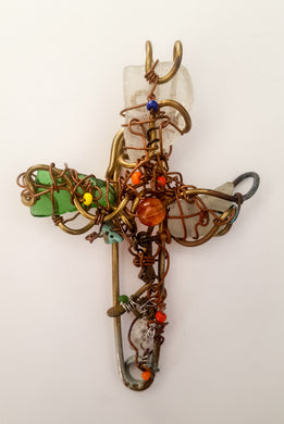 Cross handmade necklace and brooch 2 - Curvo