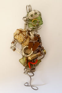 """One leg"" robot handmade necklace - Curvo"