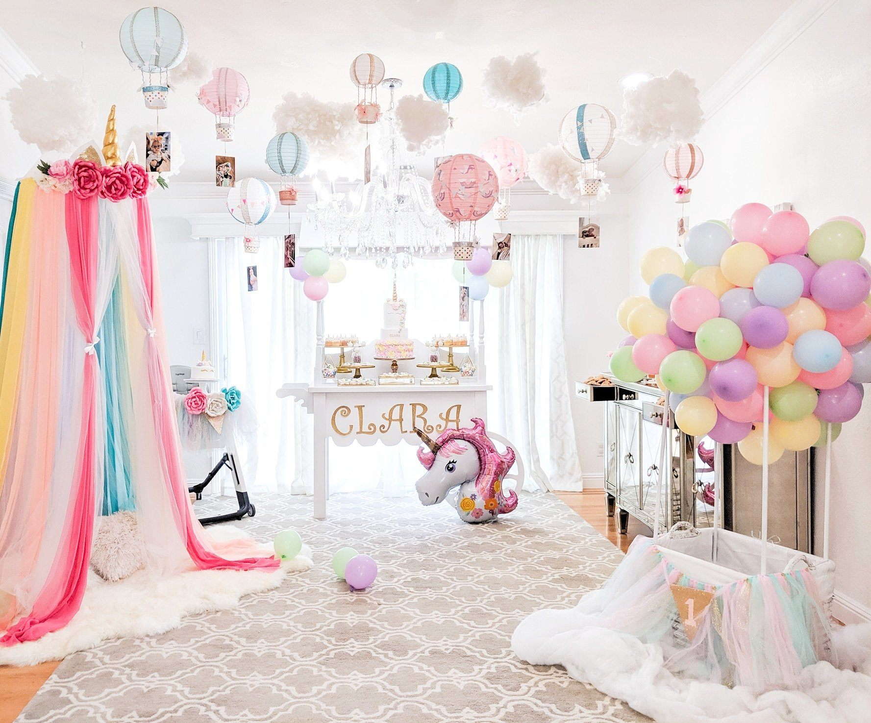 Dreamy Pastel Unicorn and Hot Air Balloon Party