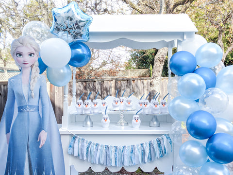 white sweet cart rental frozen party decorations