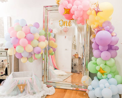 shimmer and confetti diy pastel unicorn balloon garland arch kit for kids birthday party inspiration