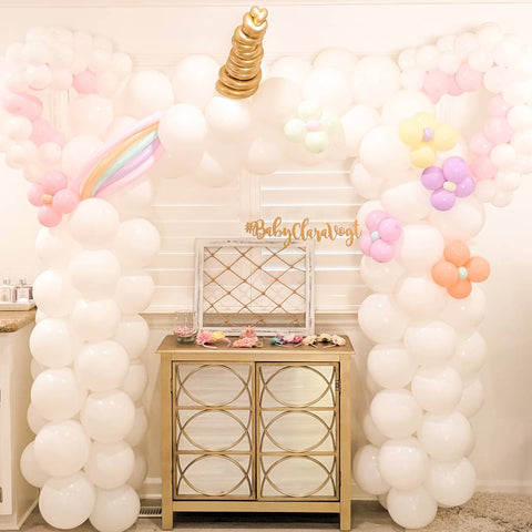 shimmer & confetti diy pastel unicorn balloon garland arch kit for kids birthday party inspiration