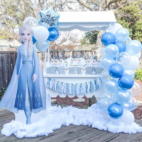frozen balloon garland by shimmer and confetti