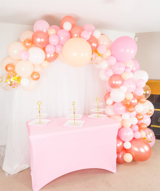 16ft Pink Peach-Blush White Rose Gold and Gold Balloon Arch and Garland Kit - Shimmer & Confetti