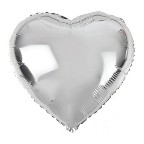 10-inch Silver Heart-Shaped Foil Balloon - Shimmer & Confetti