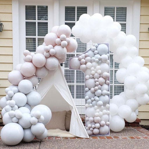16ft Gray, White and Nude Balloon Arch and Garland Kit with Custom Colors