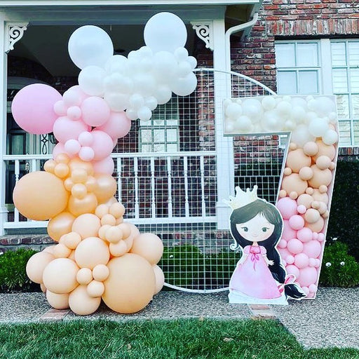 16ft Pink, Blush, Pearl Peach and White Balloon Arch and Garland Kit with Crown Foil Balloon