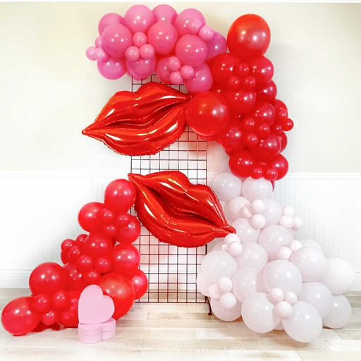 16ft Pastel Pink, Fuchsia and Red Balloon Arch and Garland Kit with Two Giant Red Lips