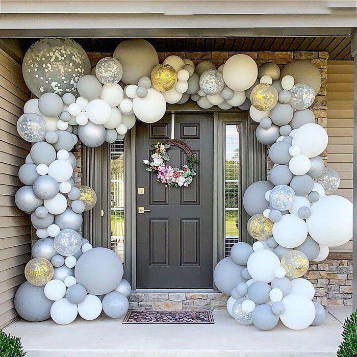 16ft White, Gray, Silver and Gold Balloon Arch and Garland Kit - Shimmer & Confetti