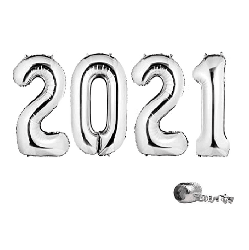 2021 Silver New Year Foil Balloons