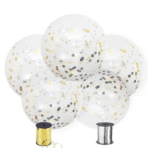 36-inch Giant Gold and Silver Confetti Balloons 5ct - Shimmer & Confetti