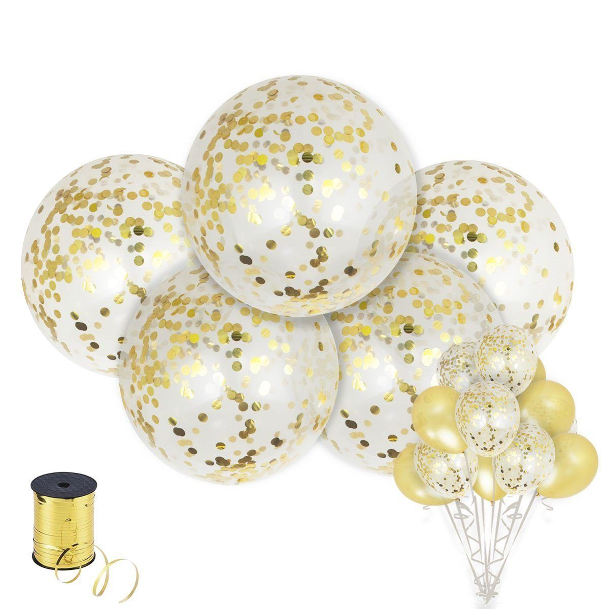 Latex Glitter Balloons for Party//Birthdays //Wedding//Festivals Christmas and Event Decorations 6 Pcs Giant Latex Balloon with Gold Confetti 36 Inch Jumbo Confetti Balloons