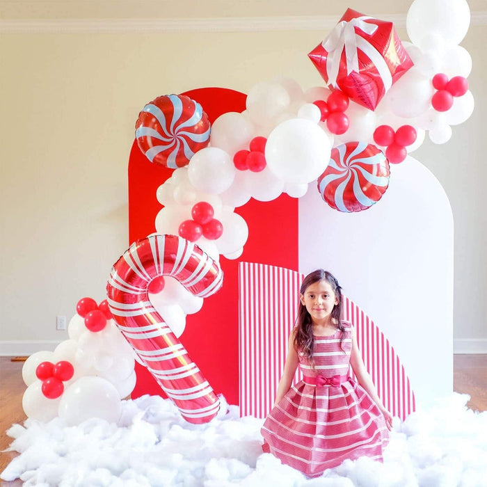 16ft Red and White Christmas Balloon Arch and Garland Kit with Candy, Candy Cane and 4D Gift Balloons balloon arch and garland shimmer and confetti balloons unicorn baby shower bridal shower party supplies birthday decoration first