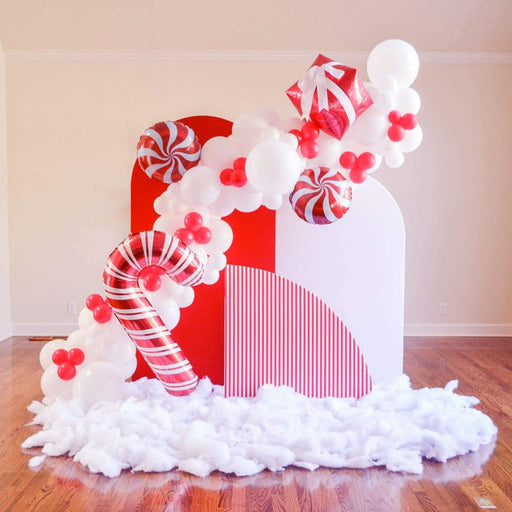 16ft Red and White Christmas and Valentine Balloon Arch and Garland Kit with Candy, Candy Cane and 4D Gift Balloons - Shimmer & Confetti