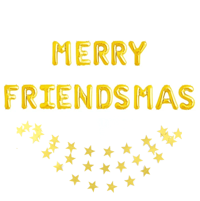 Merry Friendsmas Gold Foil Balloons