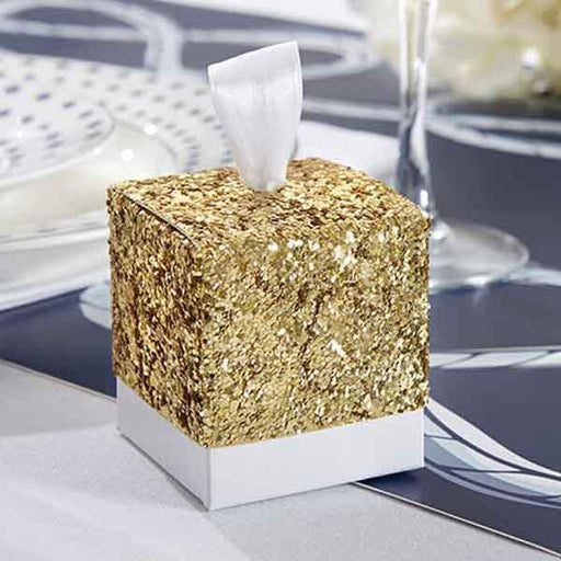 """All That Glitters"" Gold Glitter Favor Boxes 25ct - Shimmer & Confetti"