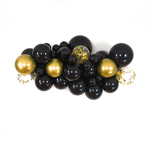Black and Gold Balloon Arch and Garland Kit (5, 10, 16 foot) - Shimmer & Confetti
