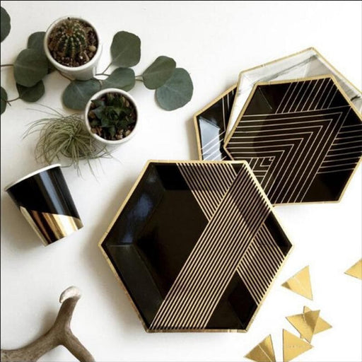 Black and Gold Stripe Tableware Set balloon arch and garland shimmer and confetti balloons unicorn baby shower bridal shower party supplies birthday decoration first