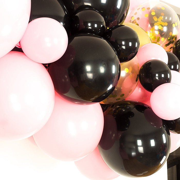 Black, Pink and Gold Balloon Arch and Garland Kit (5, 10, 16 foot) balloon arch and garland shimmer and confetti balloons unicorn baby shower bridal shower party supplies birthday decoration first
