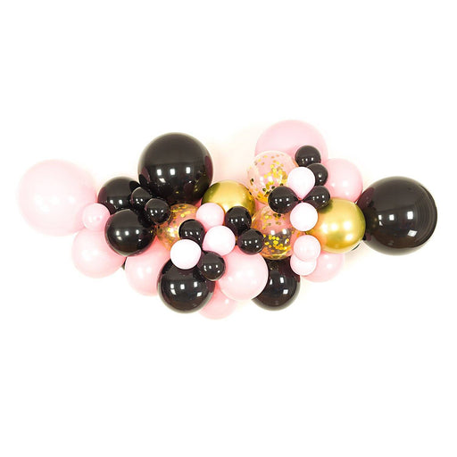 Black, Pink and Gold Balloon Arch and Garland Kit (5, 10, 16 foot) - Shimmer & Confetti
