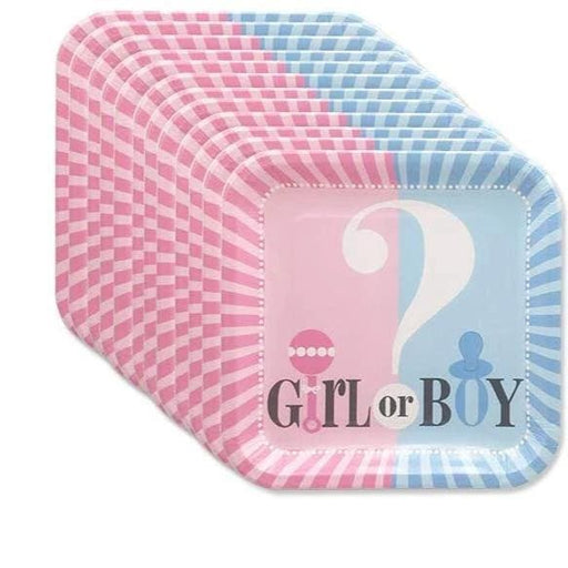 Boy or Girl Gender Reveal Dinner Plates 12ct balloon arch and garland shimmer and confetti balloons unicorn baby shower bridal shower party supplies birthday decoration first