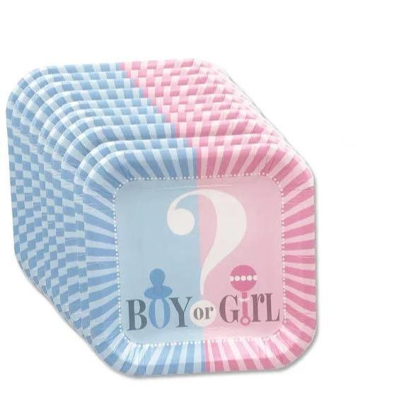 Boy or Girl Gender Reveal Side Plates 12ct balloon arch and garland shimmer and confetti balloons unicorn baby shower bridal shower party supplies birthday decoration first